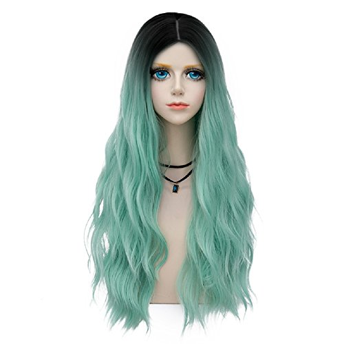 Probeauty Miracle Collection Ombre Dark Root Long Curly Women Lolita Anime Cosplay Wig + Wig Cap (60cm, Mint F12)