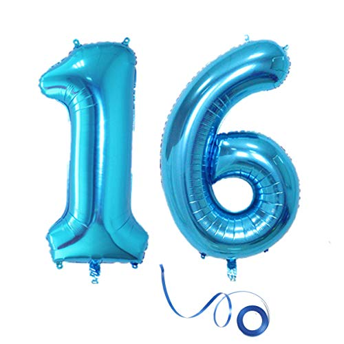 Party Folienballon Zahl 16 Blau Helium Luftballon Nummer 16 Geburtstag Nummer 16 Geburtstag Party Dekoration Luftballon Geburtstag XL Folienballon 32