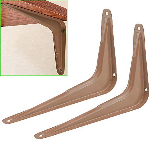 Brackets Moderne hoekbeugel 2 × rechthoekige wandhouder drijvende industrie plankhouder bruin/wit (met schroevenaccessoires)