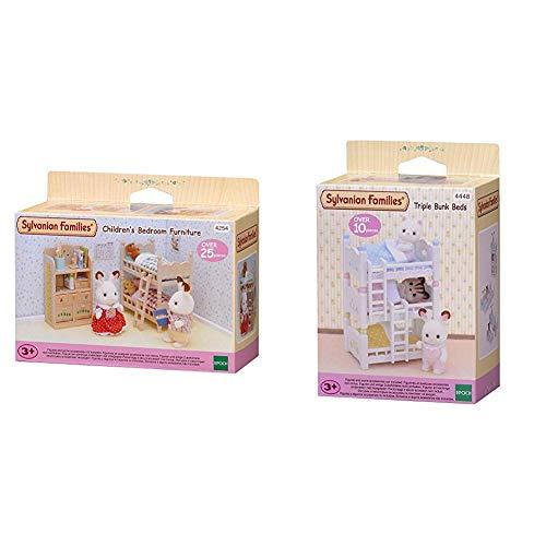 SYLVANIAN FAMILIES Children's Bedroom Furniture Mini muñecas y Accesorios, (Epoch para Imaginar 4254) + Triple literas (Epoch para Imaginar 4448)