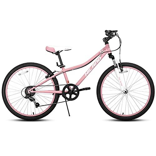Hiland 24 Inch Mountain Bike Shimano 7-Speed Pink