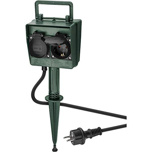 Goobay 55942 2-fach Gartensteckdose mit Zeitschaltuhr speziell für den Außenbereich geeignet - spritzwassergeschützt IP44 mit Timerfunktion