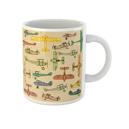 Awowee Coffee Mug Airplanes Retro on Vintage Old Plus Three Cracked Effects 11 Oz Ceramic Tea Cup Mugs Souvenir for Family Friends Coworkers