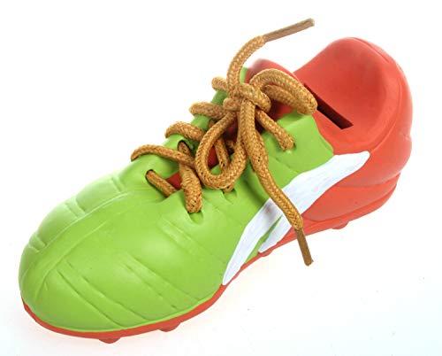 Fußballschuh als Spardose grün 17 cm Keramik Schuh mit echtem Schnürsenkel Turnschuh Sparbüchse Sparschwein