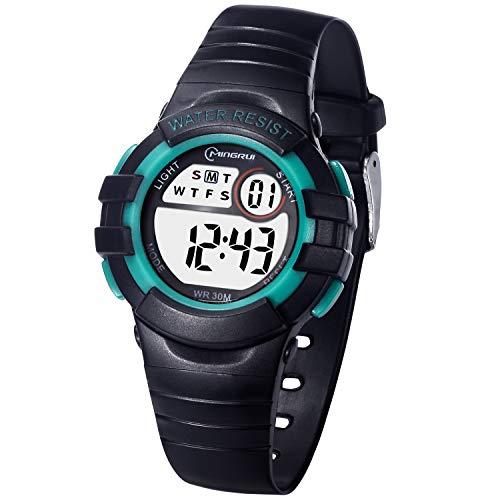 Kinderuhr Digitale für Jungen Mädchen,Wasserdicht Kinder Armbanduhr Sport LED Multifunktions mit Alarm/12/24H/Stoppuhr Weicher Gurt Armbanduhr für Jungen, Mädchen Alter 4-13 als Geschenk(Schwarz-Grün)