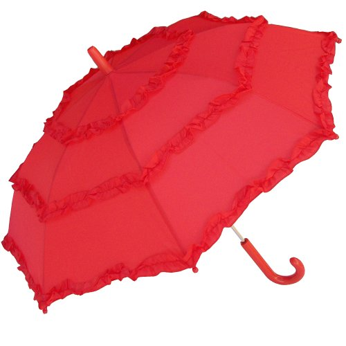 RainStoppers Girl's Solid Umbrella with Three Ruffles, Red, 34-Inch (W106CHRED)