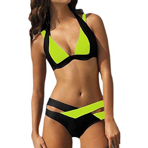 VJGOAL Damen Bikini Set Push Up Frauen Sexy Elegant Split Bikini Set Sommer Mode Kreuz Nähen Badeanzug Strand Urlaub Reisen Tragbar Swimwear(Grün,M)