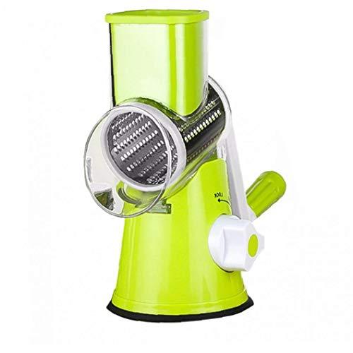 Hiinice Manual de Queso rallador de Verduras Cortar giratoria del Tambor rallador de la Fruta con Shredder 3 Inoxidable Acero rotativo Conjunto Verde
