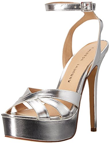 Chinese Laundry Women's Alyssa Platform Dress Sandal, Silver Metallic,  8 M US
