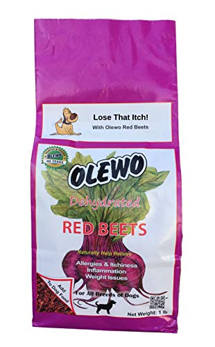 Olewo Dehydrated Red Beets Itch and Allergy Relief Dog Food Supplement Non-GMO Product, 1 Pound