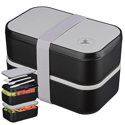 NADOZONE®️ Lunch Box XXL - Bento 2000 ML pour Enfants/Adultes - Etanche Sans BPA - Boite Repas Compartiment Double avec Couverts & 2 Séparateurs - Micro-Ondes & Lave-vaisselle - Travail/école/voyage