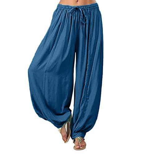 Lazzboy Frauen Plus Größe Einfarbig Beiläufige Lose Pluderhosen Yoga Hosen Frauen Hosen Damen Leinenhose Größe Sommerhose Tunnelbund Mit Gummizug(Dunkelblau,XL)