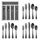 20-Piece Black Silverware Set with Tray, E-far Stainless Steel Flatware Cutlery Set Service for 4, Eating Utensils Tableware with Plastic Organizer for Home Kitchen, Matte Finished & Dishwasher safe