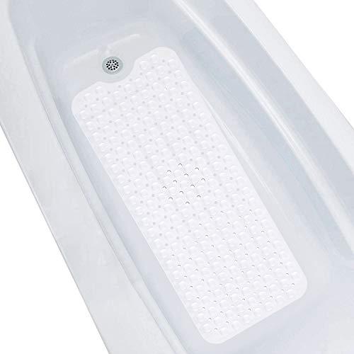 SIHOHAN Badewannenmatte,100x40 cm Duschmattem, Lang rutschfeste Duschmatte Antirutschmatte,Badewanneneinlage mit Saugnapf, Badewannenmatten für Kinder und Baby (Weiß)