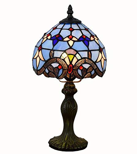 NANXCYR Tiffany Style Lamps Barroco Mesa pequeña Luz de Escritorio 15 Pulgadas de Alto Vitral 8 Pulgadas de Ancho Pantalla de lámpara Lámpara de Acento para café Vivo Dormitorio de la Universidad