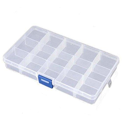 Qinlee Kunststoff Aufbewahrungsbox Schmuck/Haken/Teile/Haarring/Pillen Container Transparent Organizer Box Kategorie Aufbewahrungs Kasten Size 15 Gitter