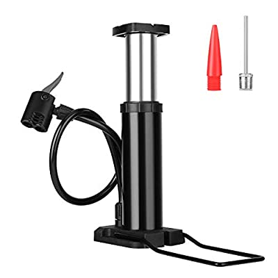 QKURT Bike Pump, Foot Activated Bicycle Pump, Portable Mini Bicycle Pump fits Universal Presta and Schrader | Aluminum Alloy Bicycle Tire Pump for Road, Mountain and BMX Bikes, Black