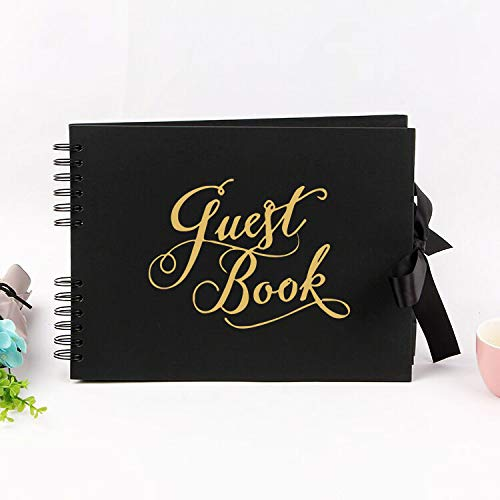 """KIJETA Black Polaroid Guest Book for Wedding  Funeral  Baby Shower  Birthday  Bridal Shower  Graduation Party  50th Anniversary - 11.5"""" x 8.5""""  80 Blank Pages Guestbook"""