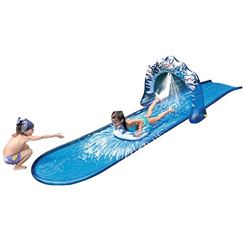 Tobogán acuático con plataforma de lanzamiento inflable Gardena, rampa individual, tobogán de rociado de agua de verano, tobogán acuático de piscina de PVC para jardín de verano al aire libre