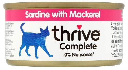 thrive Katze Complete - 100% Katzenvollnahrung Sardine & Makrele in Soße (12-er Pack)
