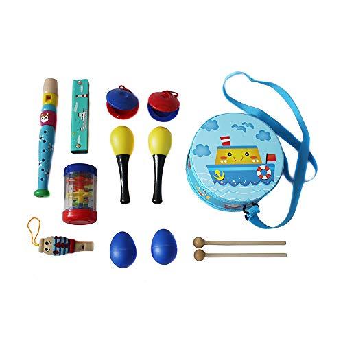 ZXIAQI Musikinstrumente Set, Musical Instruments Spielzeug Schlagzeug, Kinder Schlaginstrument für Kinder im Vorschulalter,with Tote Bag Blue
