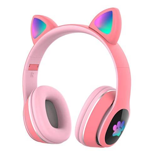 Auriculares Bluetooth para niños Auriculares inalámbricos de Oreja de Gato con luz LED Intermitente(Rosa)