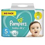 Pampers Baby-Dry - Pañales para bebé (tamaño 5, 62 pañales, hasta 12 horas de protección completa, 11-16 kg, 2 paquetes de 1,773 kg)