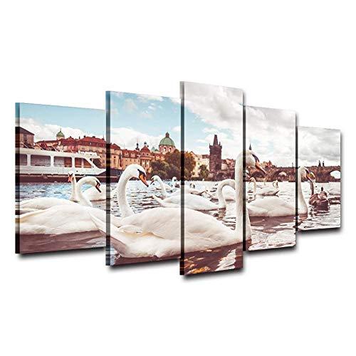 5 Panel Leinwand Kunst Leinwand Hd-Drucke Poster Wohnkultur 5 Stücke Weiße Schwäne in der Nähe der Karlsbrücke in Prag Gemälde Wandkunst Zimmer Bilder Rahmen40x60cmx2 40x80cmx2 40x100cmx1