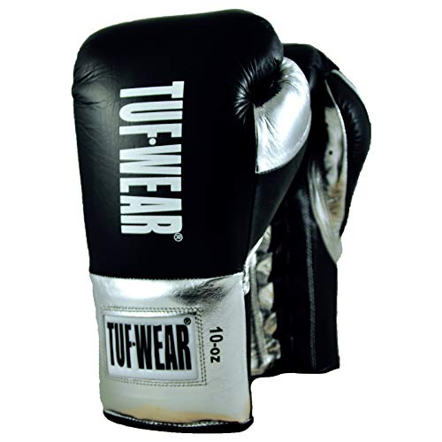 TUF WEAR Sabre Professioneller Kampfsport-Handschuh, BBBofC-Zertifiziert, schwarz/Silber, 283,5 g (10 oz)