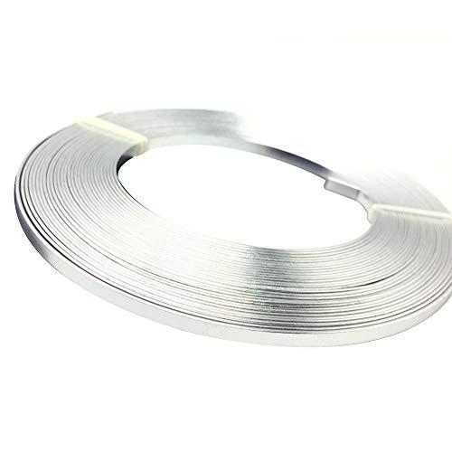 Asitlf Artisanat Aluminium Fil Plat 2Roll assurage Flexible en métal pour Bricolage Jardinage Bijoux Faire,Argent