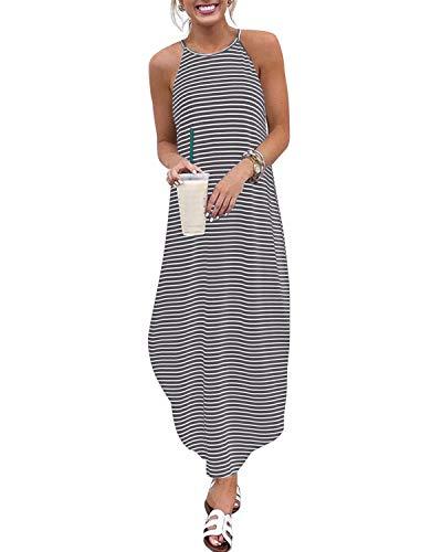 CNFIO letnie sukienki maxi dla kobiet luźny pasek długa sukienka na co dzień plaża sundress