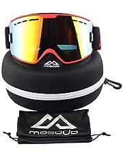 MOSODO snygga skidglasögon ?Anti-repor och anti-dimma UV400-skydd alla REVO spegellinser med trippel andningsbara skum och TPU-ram ?Universal design för alla vintersportfans!