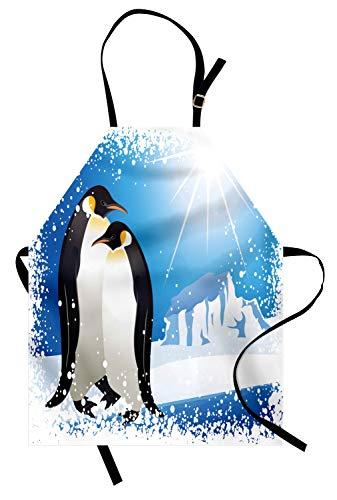 ABAKUHAUS Winter Keukenschort, Snowy Frozen Kid Seizoen, Unisex Keukenschort met Verstelbare Nekband voor Koken en Tuinieren, Sky Blue Wit Zwart