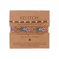 KELITCH 2PCSカラフルストランドブレスレットボヘミアン友情パールビーズブレスレットファッションジュエリー(ブラウングレーI)