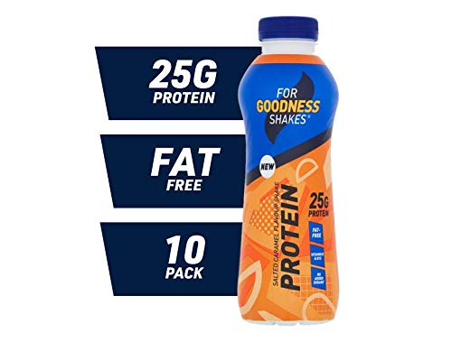 For Goodness Shakes High Protein Salted Caramel Shake, 475ml - Pack of 10
