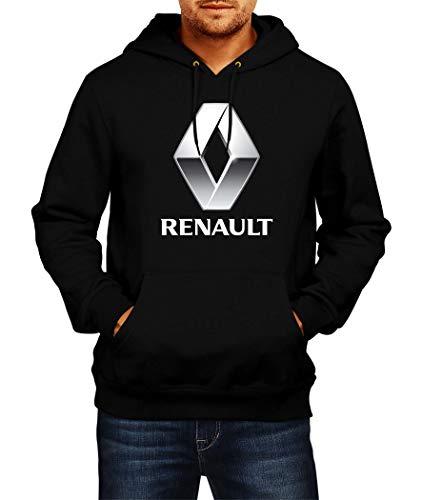 Sweats à Capuche Renault Logo Hoodie Homme Men Car Auto Tee Black Grey Noir Gris Long Sleeves Manches Longues Present Christmas (L, Black)