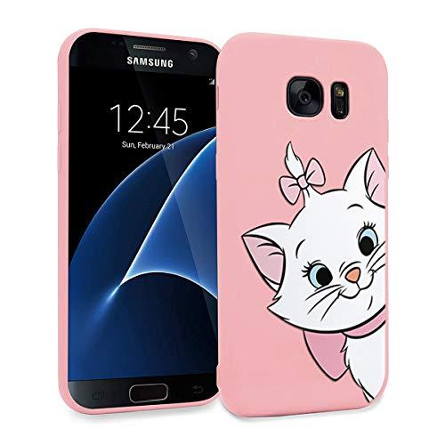 ZhuoFan Funda Samsung Galaxy S7 Edge, Cárcasa Silicona Rosa con Dibujos Diseño Suave Gel TPU Antigolpes de Protector Piel Case Cover Bumper Fundas para Movil Samsung Galaxy S7Edge, Gato 01