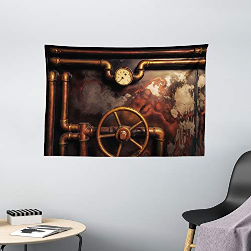 Ambesonne Industrial Tapestry, Steam Pipes and Pressure Gauger Vintage Style Damaged Timeworn Engine, Wide Wall Hanging for Bedroom Living Room Dorm, 60