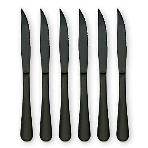 6-Pieces Stainless Steel Steak Knives Set, Black Knife Set-Use for Home Kitchen or Restaurant (Black)