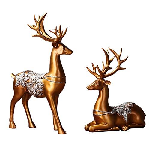 Healifty 2 Stück Rentier Figur Elch Hirsch Figur Statue Weihnachten Tierfigur Dekofigur Wohnzimmer...