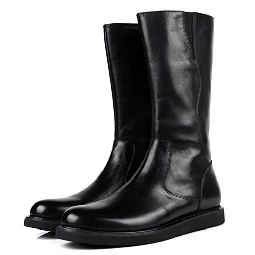 shiwu Zapatos para Hombres Cremallera Lateral Cordones de Cuero Cintura Alta a Media Pierna Combate Martin Botas para Caballeros Resistente a la abrasión,Black-37