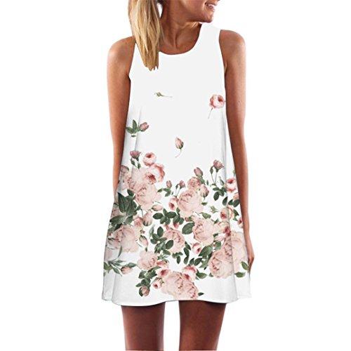 Binggong Kleid Damen, Vintage Boho Frauen Sommer Sleeveless Strand Printed Short Mini Dress Mode Kleid Freizeit Reizvolle MiniKleid Elegant (Weiß K, XL)