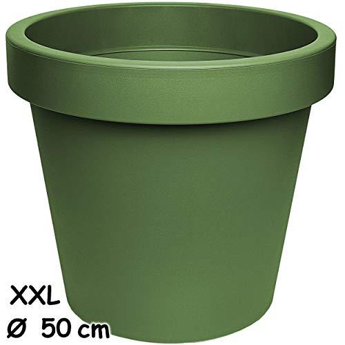 alles-meine.de GmbH Design - XXL - großer Blumentopf / Pflanzkübel / Pflanzschale - Ø 50 cm - 55 Liter - grün - dunkelgrün Oliv - rund - Gross - Kunststoffkübel - Übertopf Pflanz..