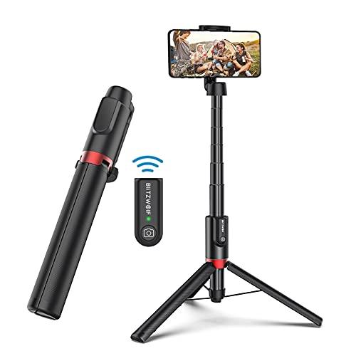 Bluetooth Selfie Stick Stativ, BlitzWolf 130CM Aluminium Wireless Selfie-Stange Stab mit Bluetooth Fernbedienung um 360° Drehbar für iPhone 12 Pro/12/11 Pro/11/XS Max/X/8/7/6, Galaxy S10, Huawei, More