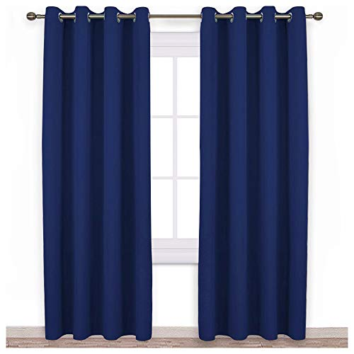 NICETOWN Blackout Curtain Panels 84 - Window Treatment Energy Saving Thermal Insulated Solid Grommet Blackout Drapes for Living Room (Navy Blue, 1 Pair, 52 by 84-Inch)