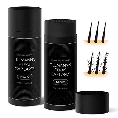 Fibras Capilares Negro 27,5g - Caida Cabello Hombre - Keratin Fibers - Disimular Calvicie Al Instante Con Polvo de Queratina 100% Natural