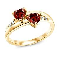 Gem Stone King 1.28カラット 天然 ガーネット 指輪 リング レディース 合成ダイヤモンド シルバー925 イエローゴールドコーティング