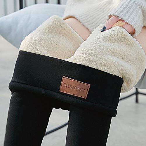 Lenfesh Winter Leggings Damen Schwarz Thermoleggings Shapewear Warm Fleece Futter Blickdicht Thermo Leggings mit Taillenbund Hohe Taille Stretch Hose für Mädchen