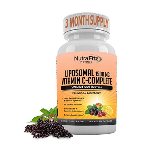 Liposomal Vitamin C Capsules with Zinc, Organic Elderberry, Amla, Camu Camu, Bioflavanoids – High Absorption, Anti Aging, Immune Support,1500mg/Serving 3 Month Supply, Gluten Free Non GMO Vegan Caps