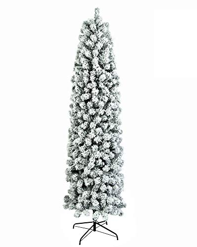 Claean-Acces-Home Snow Flocked Hinged Artificial Pine Christmas Tree 7.5ft Pencil Flocking